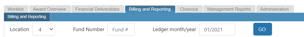 Billing and Reporting tab